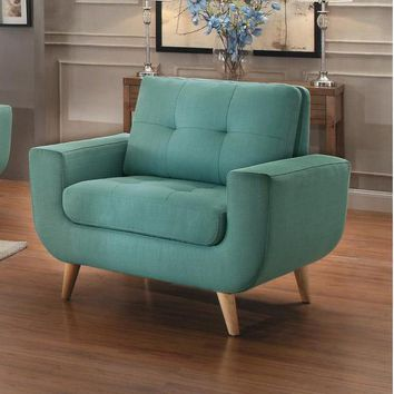Polyester Upholstered Chair With Tufted Seat And Back, Teal Blue