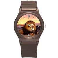 Lion (full mane)  at Sunset on Brown Plastic Sports Watch..NEW