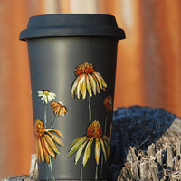 EcoFriendly Black Ceramic Travel Mug Limited Edition by yevgenia