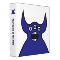 Kawaii Blue Alien Monster Face Vinyl Binder
