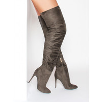 Latoya Khaki Suede Ruched Thigh High Boots : Simmi Shoes