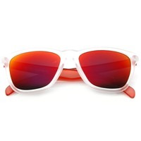 Action Sports Revo Lens Frosted Frame Horned Rim Sunglasses 8653