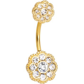 Clear CZ Gem Gold Tone Art Deco Flower Double Mount Belly Ring