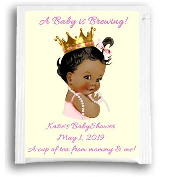 10 Princess Baby Shower Tea Favors Dark Skin
