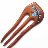 Wooden Hair Fork, hairfork, wood, hair stick, 3 prong, hand painted, flowers