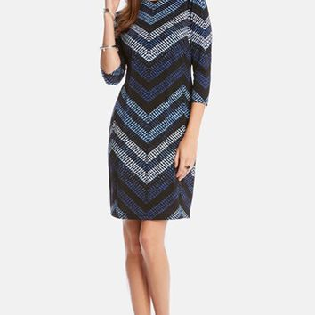 Women's Karen Kane 'Cerulean Chevron' Print Shift Dress,