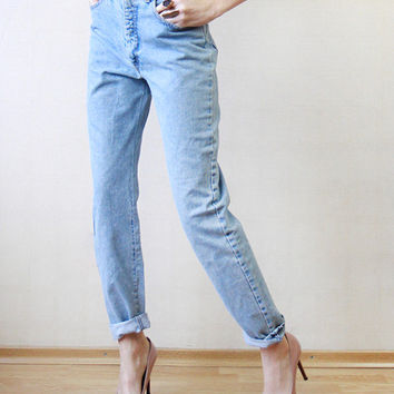 ARMANI Blue denim skinny straight leg high waist jeans pants