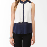Sleeveless Contrast Overlay Shirt