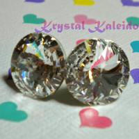Crystal Clear Rivolis - Post Earrings handmade with Swarovski Elements, 12mm Studs