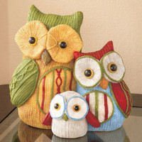 Cute Colorful Owl Family Figures Dresser Mantel Table Display Home Decor New