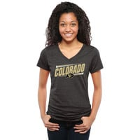 Colorado Buffaloes Women's Double Bar Tri-Blend V-Neck T-Shirt - Black