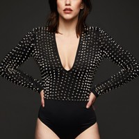 Breakin' the Law Black Studded Longsleeve Bodysuit Top
