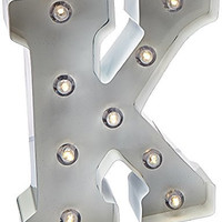 Darice Metal Letter K Marquee Light Up, White