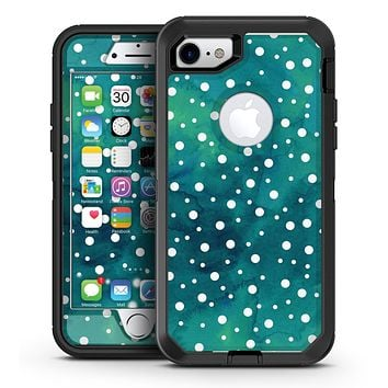 Green and White Watercolor Polka Dots - iPhone 7 or 7 Plus OtterBox Defender Case Skin Decal Kit
