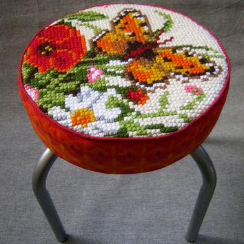 Butterfly and Flowers Stool, embroidery, upcycle, vintage fabric, red yellow orange white, nursery