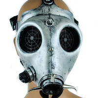 Antique Silver Color Industrial Gas Mask with Spider Web Lenses
