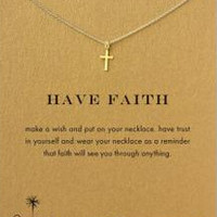2015 New Dogeared cross small gold cross necklace chain clavicle, free shipping