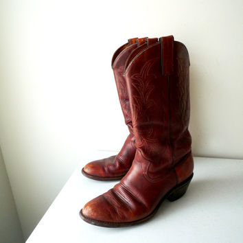 Vintage TEXAS Chestnut Brown Leather Cowboy Boots, SALE