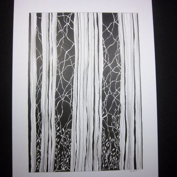 EMERGENCY MEDITATION:  Original art abstract textured botanical drawing done in pen and ink, black and white,  9x12