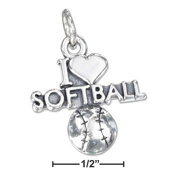 """Sterling Silver Charm:  Antiqued """"i Heart Softball"""" Charm With A Softball"""