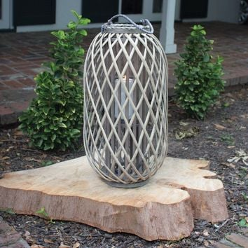 Grey Willow Lantern With Glass ~ Large