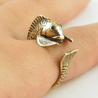 Animal Wrap Ring - Fish - Yellow Bronze - Adjustable Ring - keja jewelry