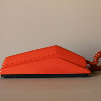 Vintage French Rotary Telephone in Orange 1970s