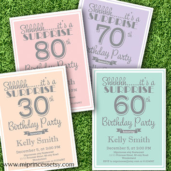 Surprise Birthday Invitation for any age, 30th 40th 50th 60th 70th 80th 90th birthday invitation modern design-  card 758