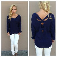 Navy Long Sleeve Entangled Blouse