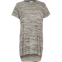 River Island Womens Grey space dye side split t-shirt