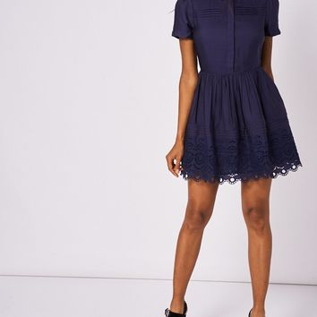Navy Skater Dress With White Collar