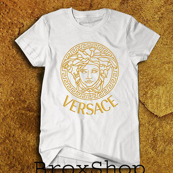 red and white versace shirt