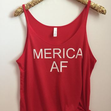 Merica AF - Slouchy Relaxed Fit Tank - 4th of July Tank - Ruffles with Love - Fashion Tee - Graphic Tee