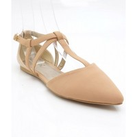 Qupid Pointer-20 Hologram Back Pointy Toe Strappy Ballet Flat NUDE