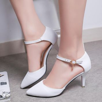 Woman Wedding Shoes White Buckle Strap Pumps Ladies bridal shoes High Heels Women Shoe