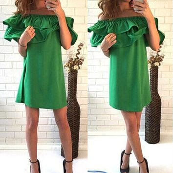 SHIBEVER Party Green Beach Dresses Fashion Short Off Shoulder Mini Sexy Dress Girl Ladies Summer Women Dress 2017 CD1329