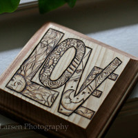 LOVE woodburned plaque