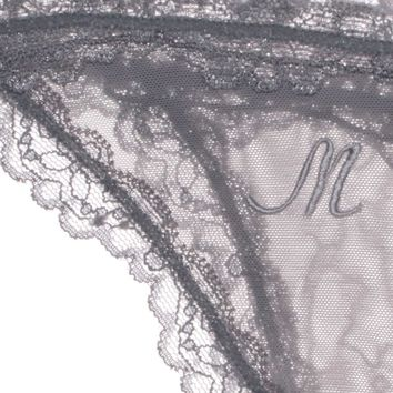 Custom Intital Embroidery Lacey Panty in Pearl Gray