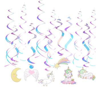 12pcs/set Unicorn Party Decorations Rainbow Foil Swirls For Unicorn Baby Shower Decorations Kids Birthday Party Decoration