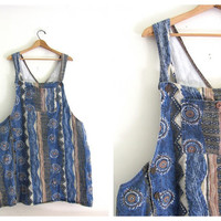 20% OFF SALE...Vintage Blue southwestern Denim Jean Bib Overalls Jumper Dress