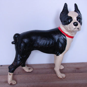 Vintage Hubley Reproduction - Cast Iron Boston Terrier Door Stop