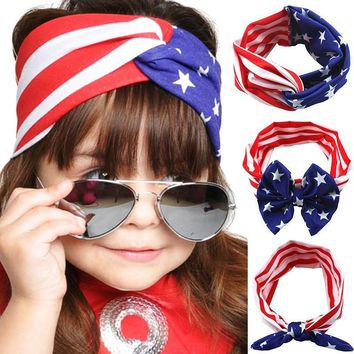 4th of July Headband Bandanas American Flag Pattern Bowknot Elastic Cloth Cute Hairband Accessories Para Cabelo Menina Turbans 1