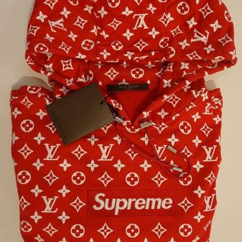 Supreme X Box Logo Monogram Louis Vuitton Hoodie.