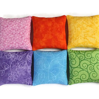Bean Bags Rainbow Child's Toy Light Blue Lime Green Yellow Orange Pale Pink Violet Bold Brights (set of 6) - US Shipping Included