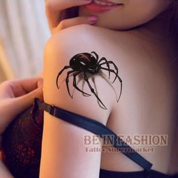 3d waterproof temporary tattoo stickers Black Spider designs Flash Temporary Tatoo fake 1sheet small neck tattoos Body Art QS054