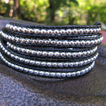 5x Wrap Sterling Silver Beaded Leather Black Wrap by JillEliz123
