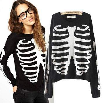 Cool Skull Printed Long Sleeve Sweater Pullovers