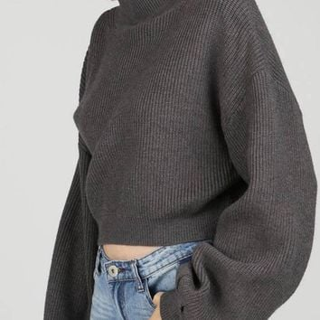Gray Mock Neck Balloon Sleeve Crop Top