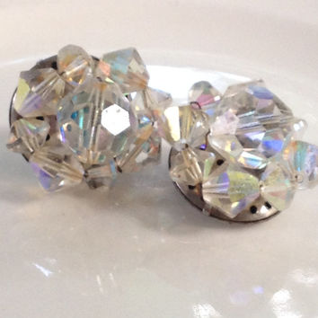 Germany Earrings Pre 1941 Glass Crystal Button Clip Style Silver Tone Metal AB