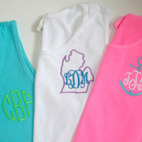 Comfort Colors State Monogram Tank Top Beach Wear Swim Suit Cover Sorority Rush Custom Embroidery